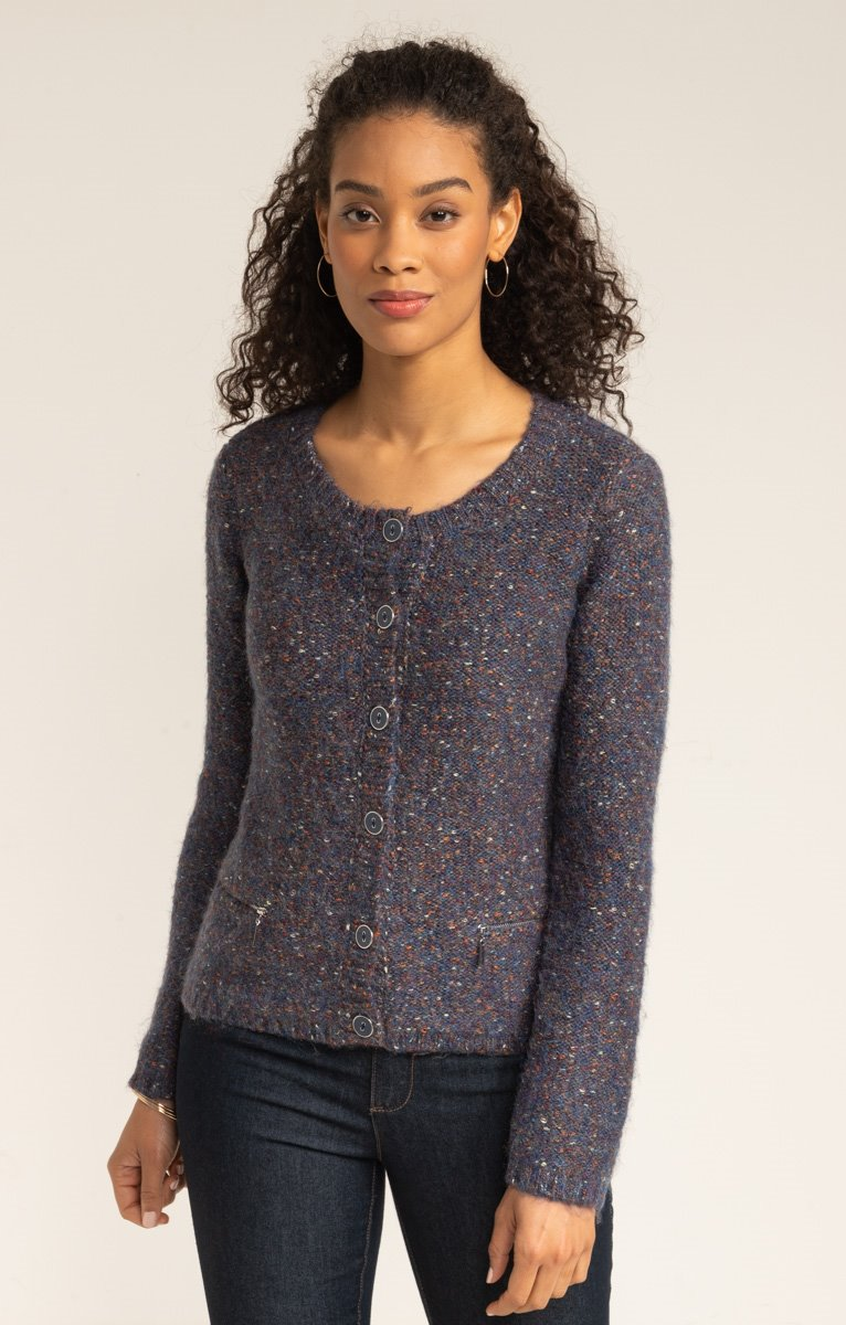 CARDIGAN FIL FANTAISIE BOUTONNE ALL OVER