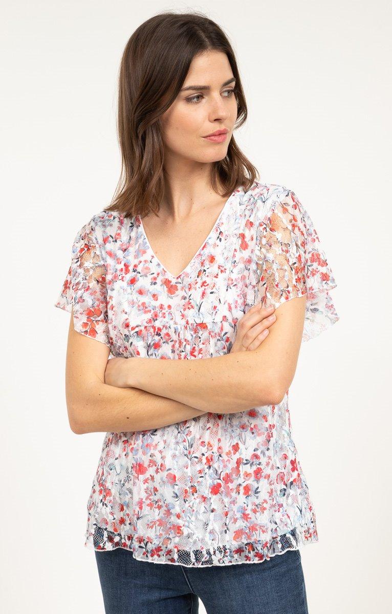 tee shirt en dentelle imprimé