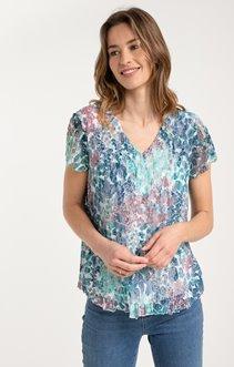 tee shirt manches courtes plissé