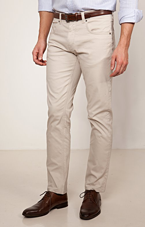 Pantalon 5 poches cream coupe régular