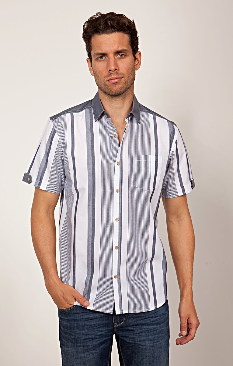 CHEMISE MANCHES COURTES A RAYURES