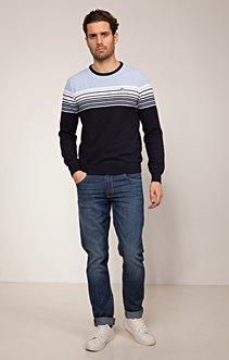 Pull bicolor bleu