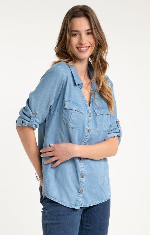 Chemise avec poches plaquées