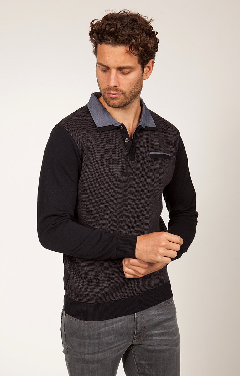 Pull col polo et chemise