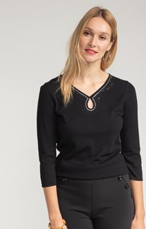 PULL MANCHES 3/4 AVEC DETAIL STRASS