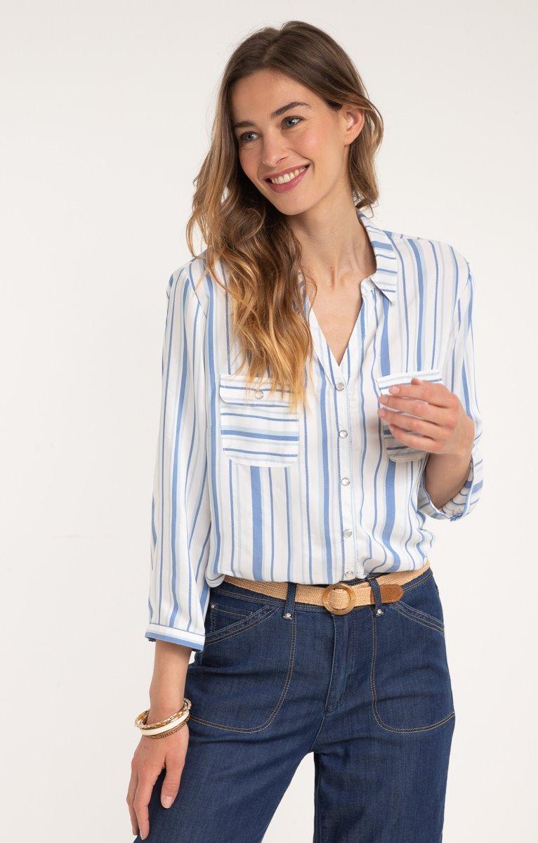Chemise boutonnée avec snaps nacres