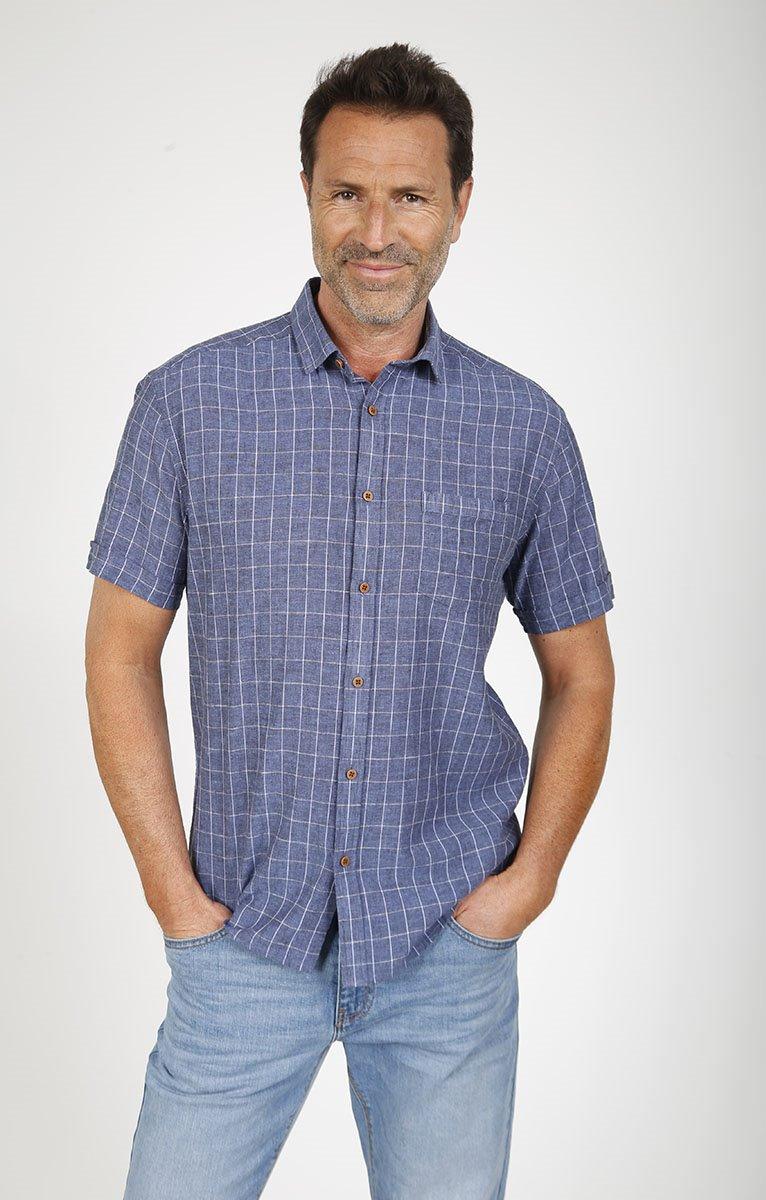 Chemise à carreaux lin mélangé