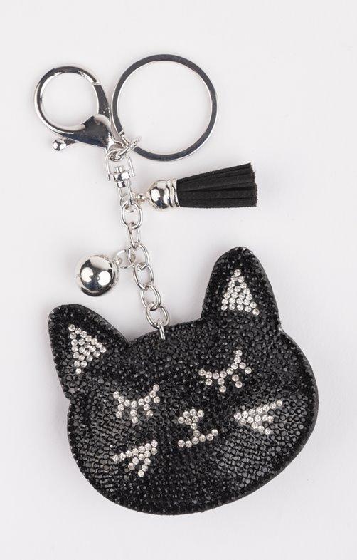 Porte clé tête de chat strass