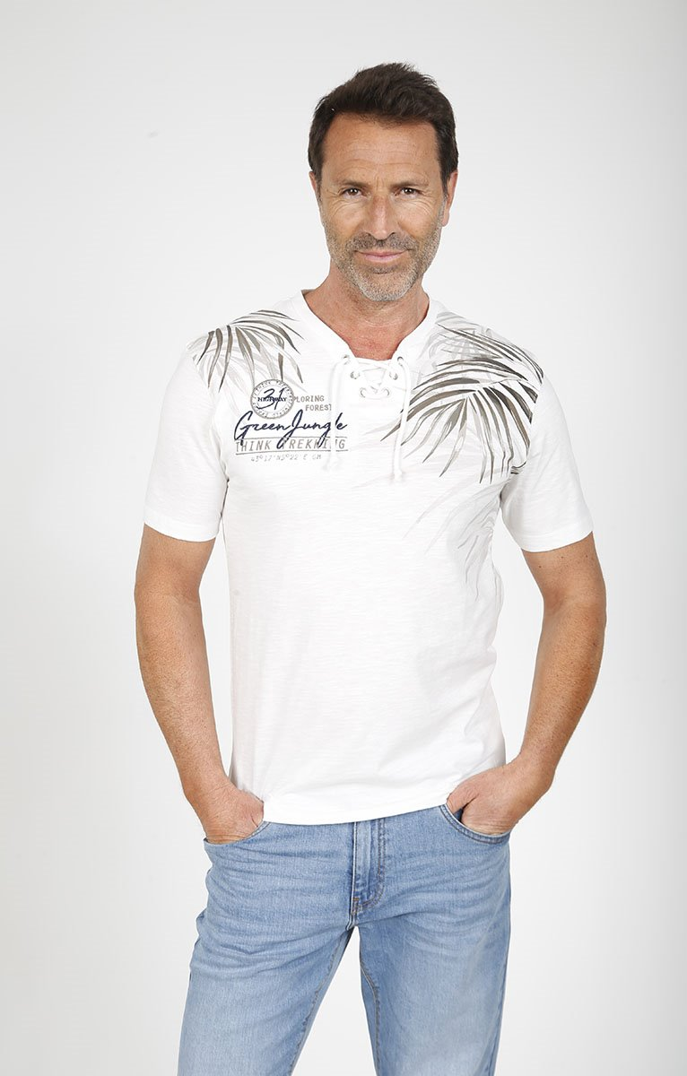 Tee shirt manches courtes leaf lacet