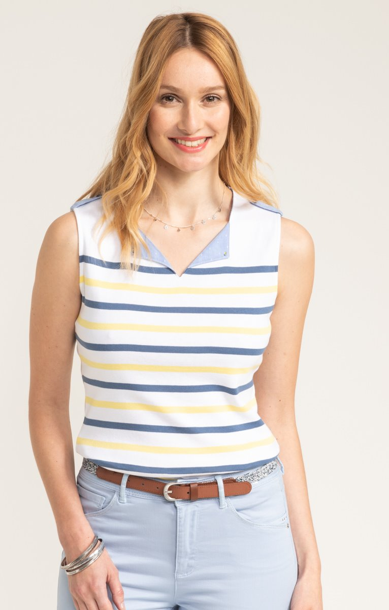 tee-shirt sans manches à rayures