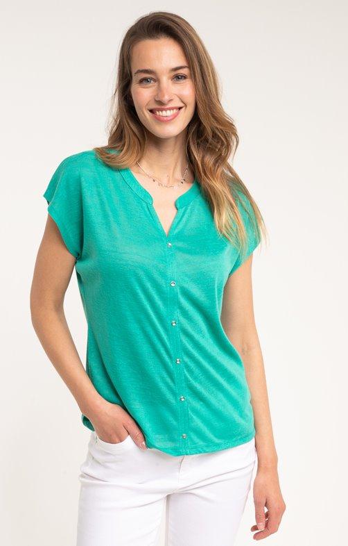 tee shirt manches courtes uni vert