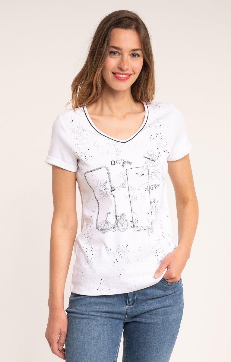 tee shirt manches courtes imprimé placé