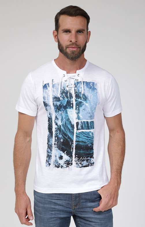 Tee shirt manches courtes water lacet