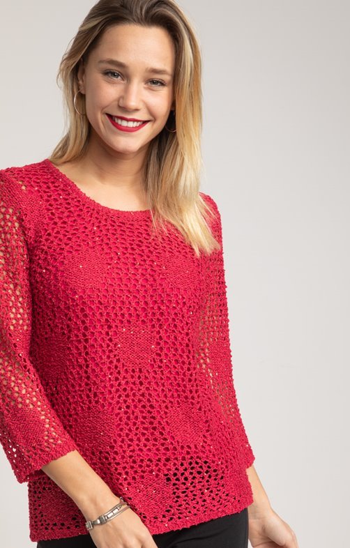 PULL AJOURE MOTIF ROND