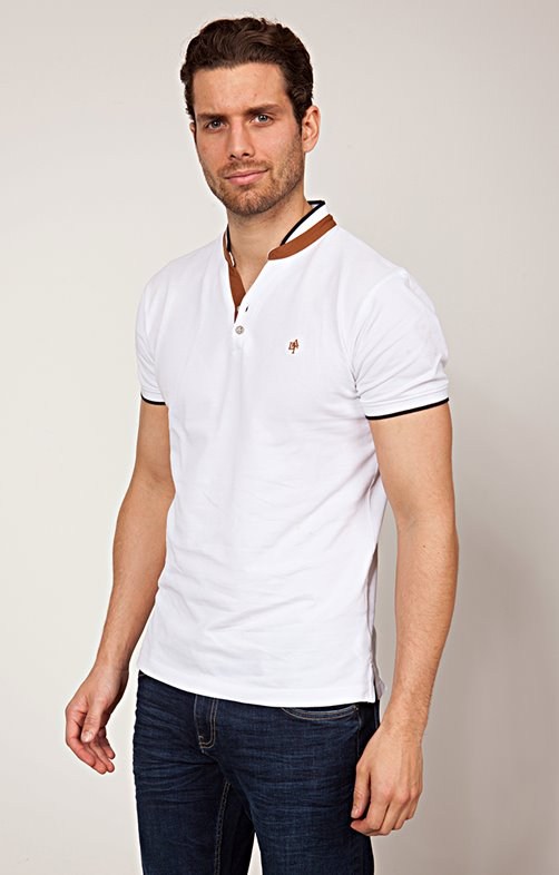 TEE-SHIRT COL TUNISIEN CAMEL