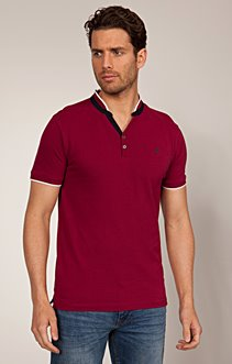 Tee-shirt col tunisien en coton