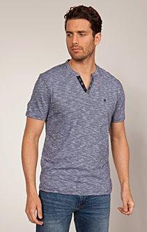 Tee-shirt col mao en coton