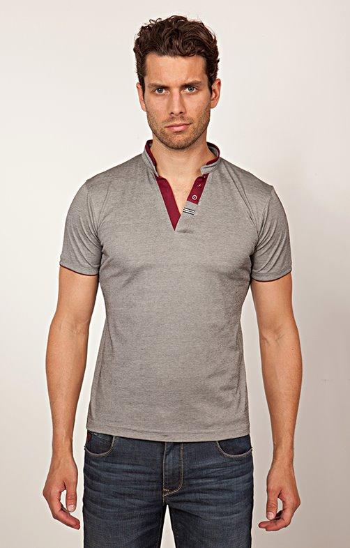 Tee-shirt manches courtes col tunisien