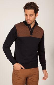 Pull col montant bicolor