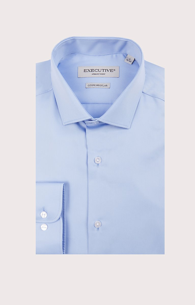 chemise satin manches longues uni