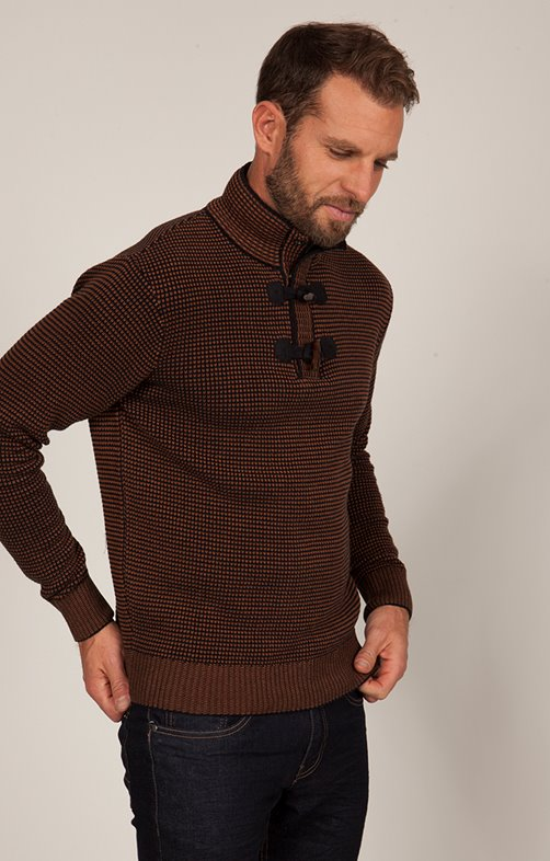 PULL col montant jacquard
