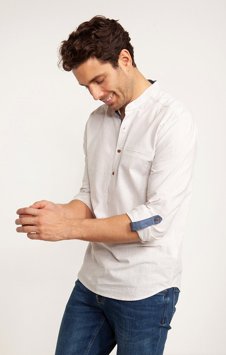 Chemise fines rayures avec chambray