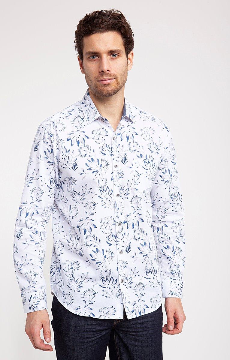 Chemise motif FLORAL sur coton texturé
