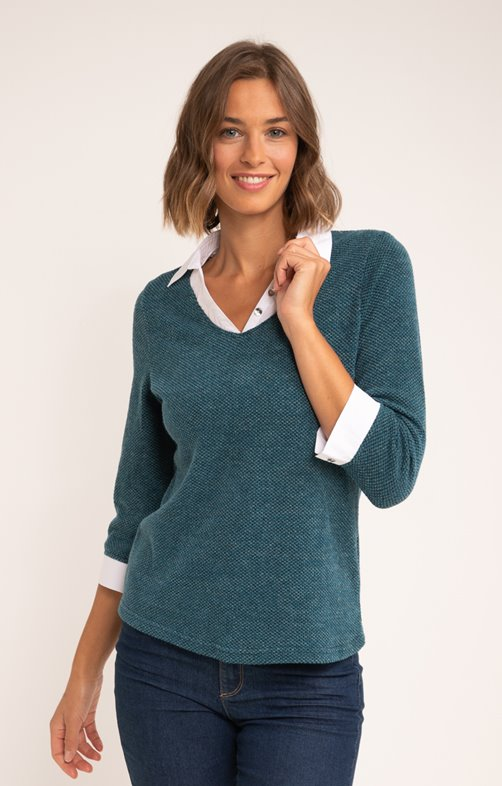 PULL 2EN1 MAILLE FANTAISIE COL CHEMISE
