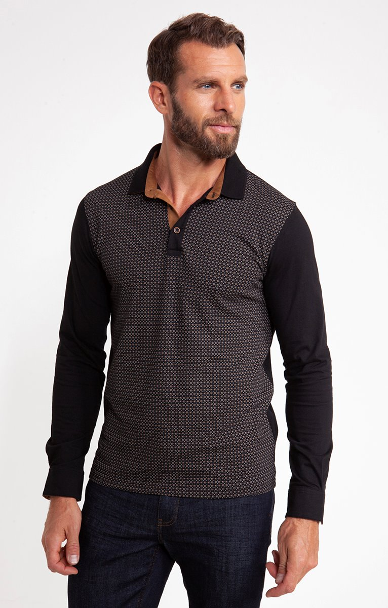Polo manches longues jersey print