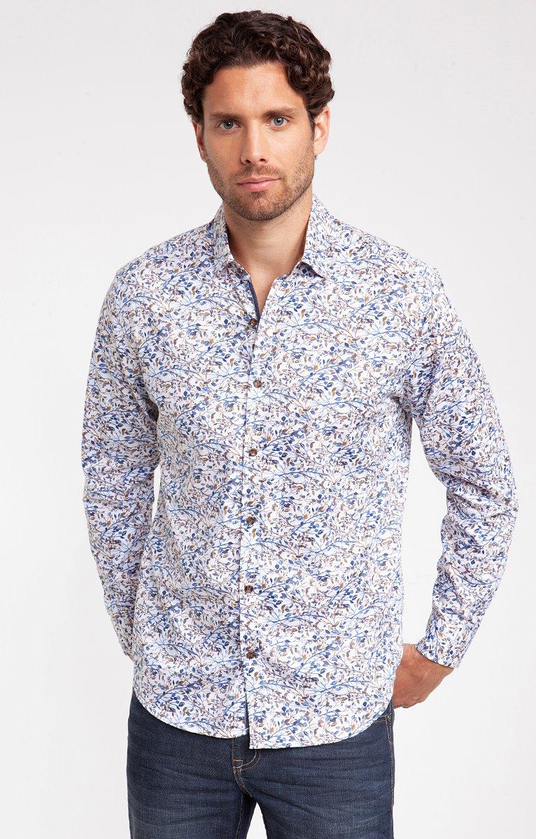 chemise casual motif feuillu