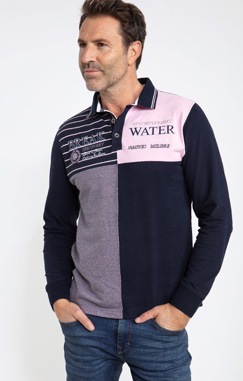 Polo manches longues quadropink