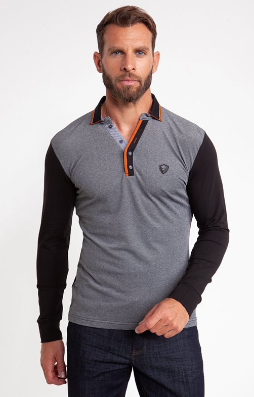 Polo manches longues gris