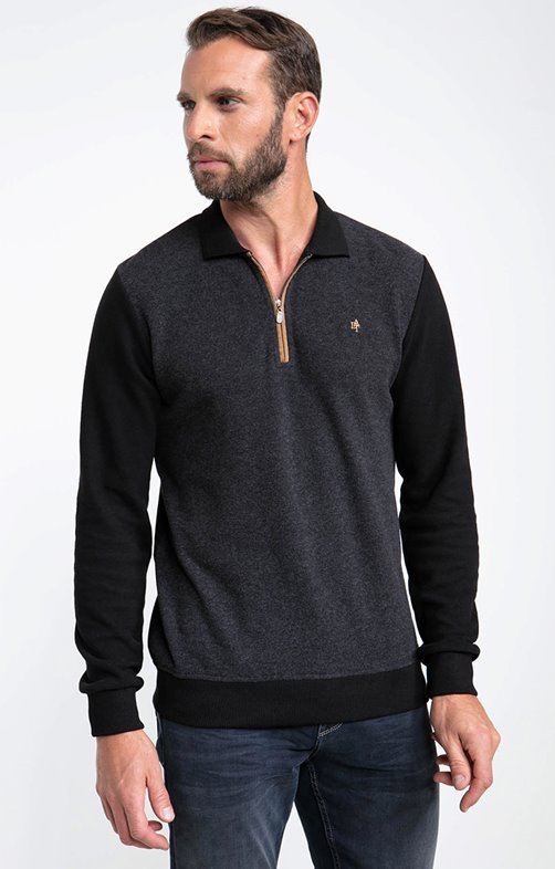Polo manches longues zip