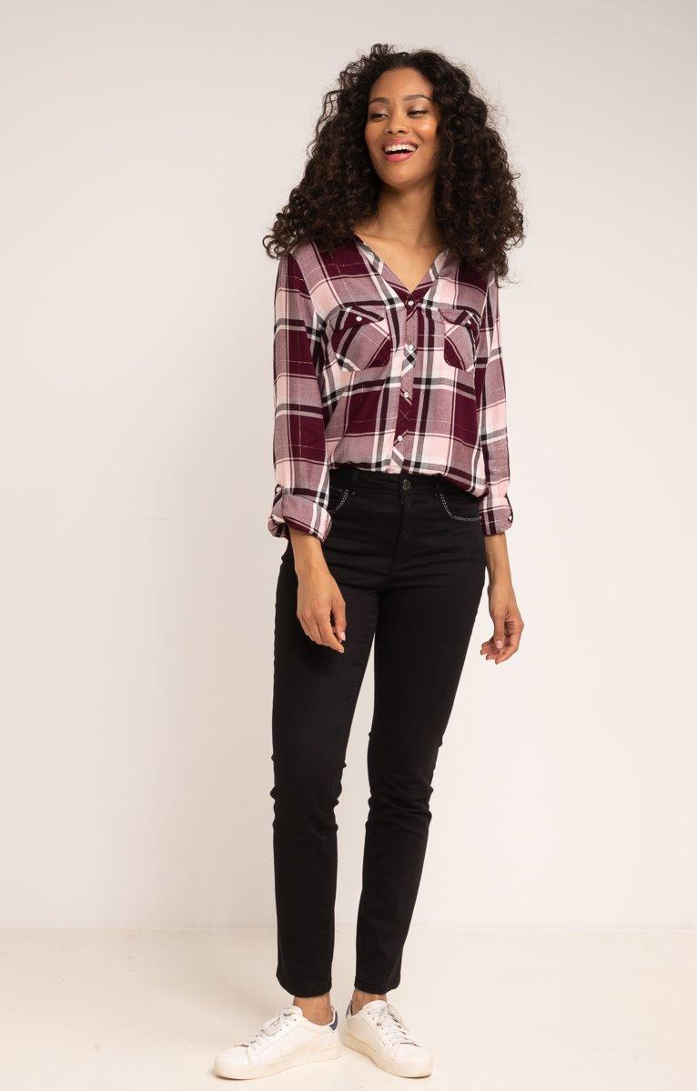 Pantalon en coton avec clous et zip