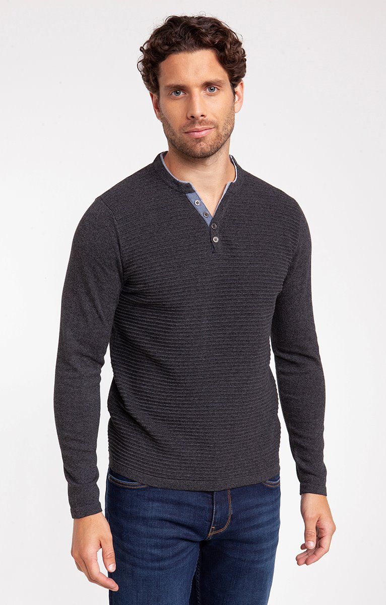 PULL RECYCLE OTTO COL TUNISIEN