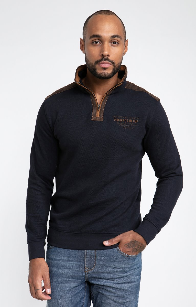 Polo manches longues col montant suedy