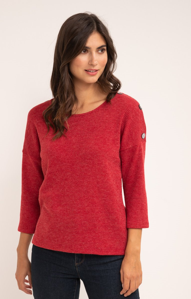PULL COL ROND MAILLE FANTAISIE ET BOUTON