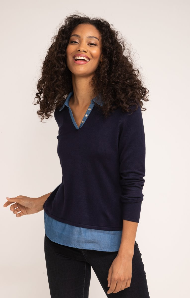 PULL COL POLO EN CHAINE ET TRAME