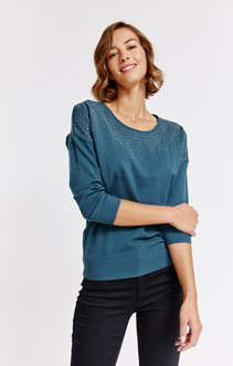 PULL DETAILS STRASS CONTRASTES