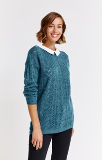 PULL COL CHEMISE POINTELLE ALL OVER