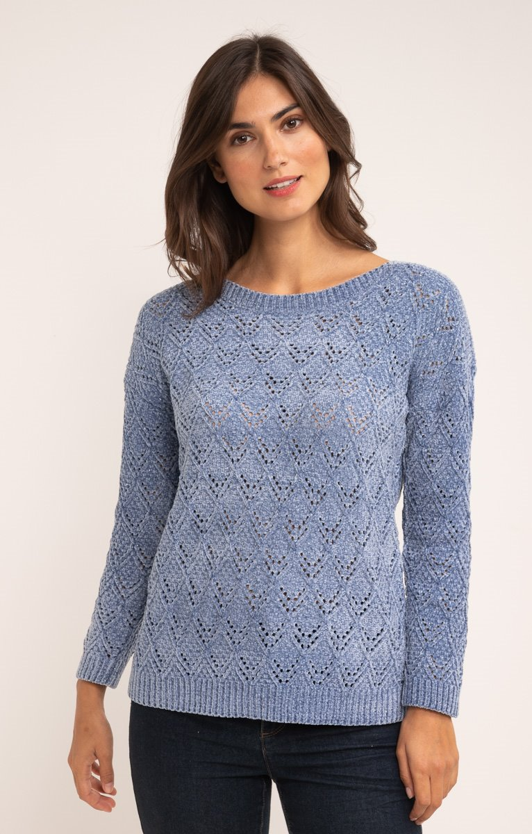 PULL COL BATEAU AJOURE ALL OVER