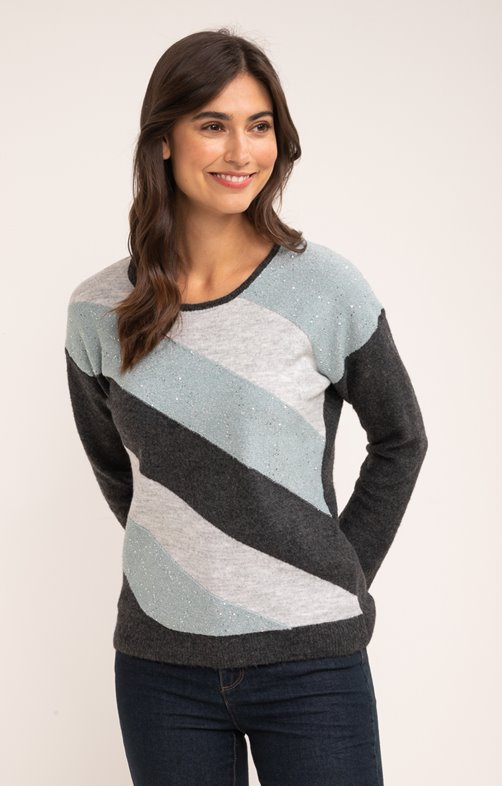 PULL COL ROND RAYURES DIAGONALES DEVANT
