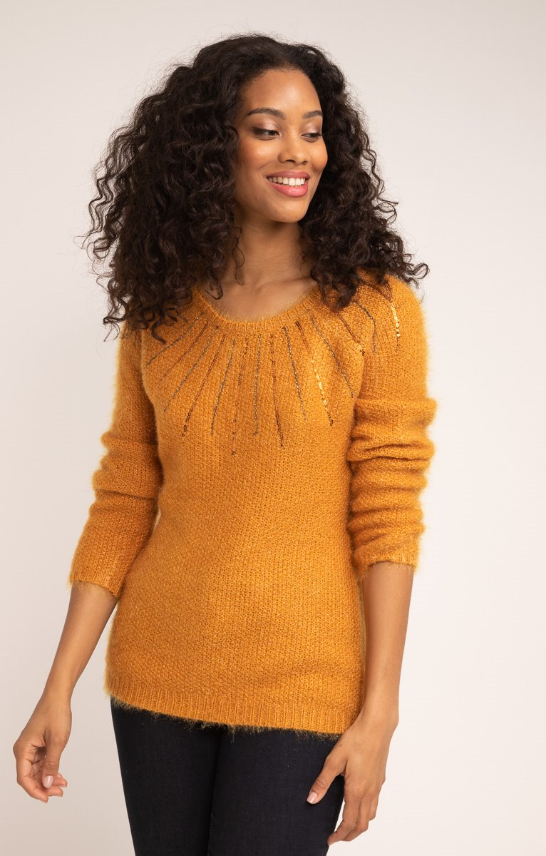 PULL COL ROND BEADING AUTOUR DU COL