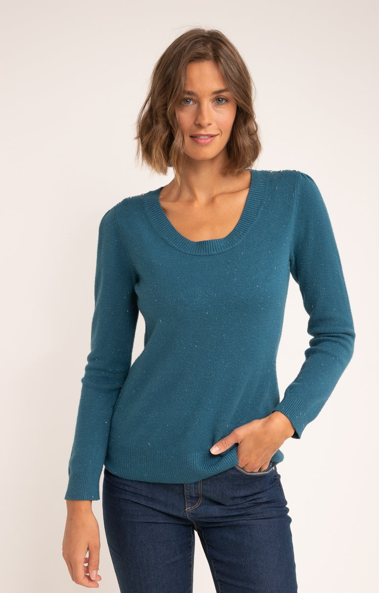PULL COL ROND PETITS BOUTONS ET FRONCES