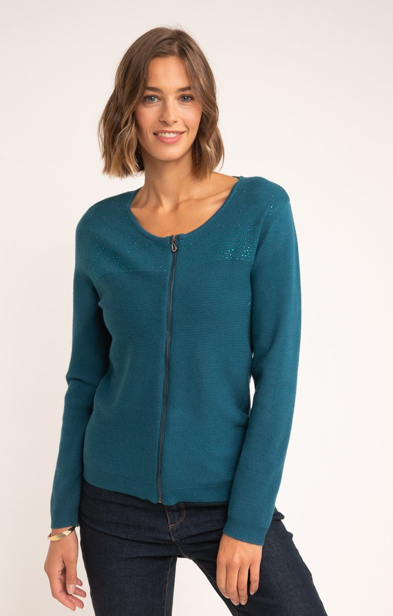 CARDIGAN COL ROND ZIPPE DETAILS STRASS