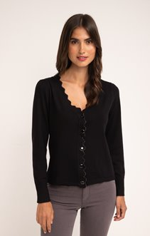 CARDIGAN COL V BOUTON ALL OVER + SCALLOP