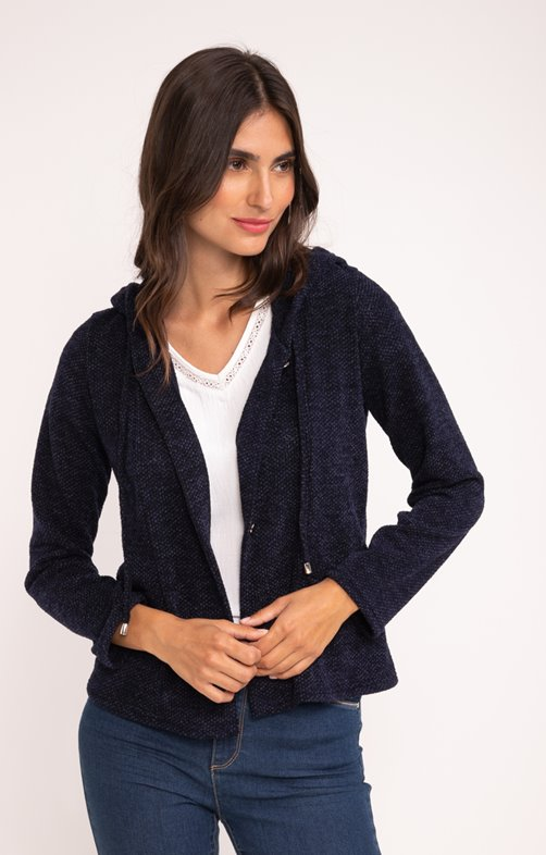 CARDIGAN CAPUCHE BOUTONNE ALL OVER