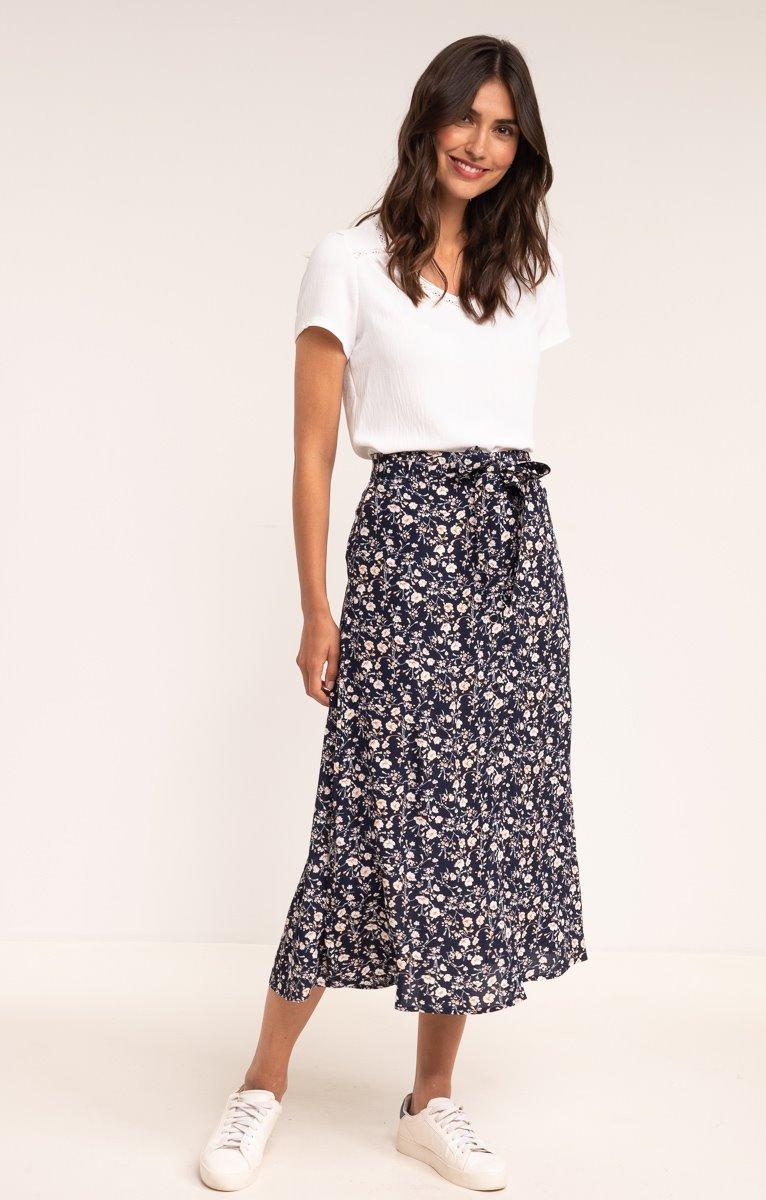Longue jupe imprimée et boutonnée