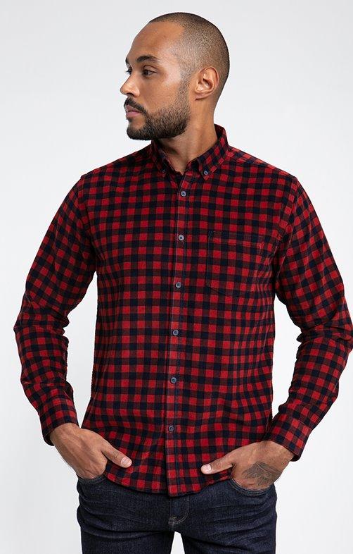 Chemise velours à carreaux