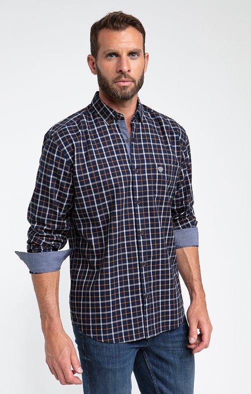 Chemise à carreaux navy